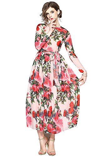 Damen Elegant Maxikleider mit Blumenmuster A-Linie Casual Lang Kleid Partykleid, Style 14, 38