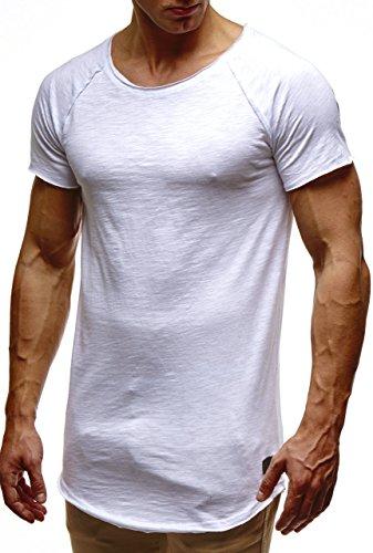 Leif Nelson Herren Sommer T-Shirt Rundhals-Ausschnitt Slim Fit Baumwolle-Anteil Moderner Männer T-Shirt Crew Neck Hoodie-Sweatshirt Kurzarm lang LN6339 Weiss XX-Large