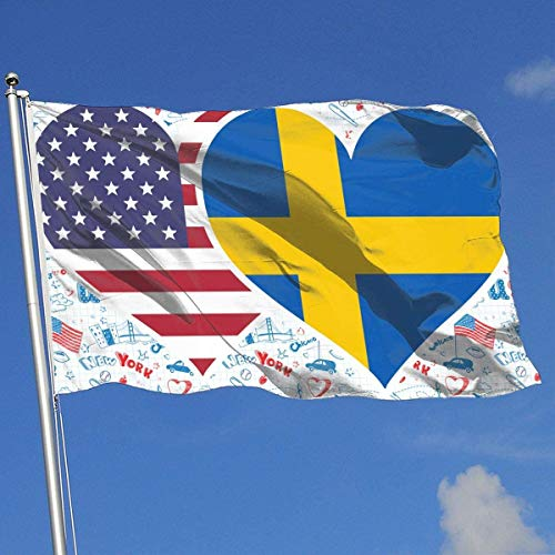 Oaqueen Banderas American Swedish Flag Heart Breeze Flag 3 X 5-100% Polyester Single Layer Translucent Flags 90 X 150CM - Banner 3