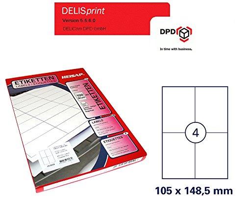 Gopacks 800 etiketten DIN A4 vel 105 x 148,5 sticker DPD DeliSprint DHL GLS UPS permanent hechtend, wit voor laserprinter en kopieerapparaat