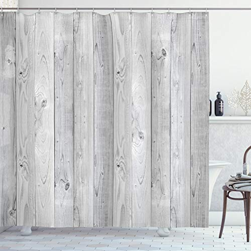 Ambesonne Grey Shower Curtain, Picture of Smooth Oak Wood Texture in Old Fashion Retro Style Horizontal Nature Design Home, Cloth Fabric Bathroom Decor Set with Hooks, 84