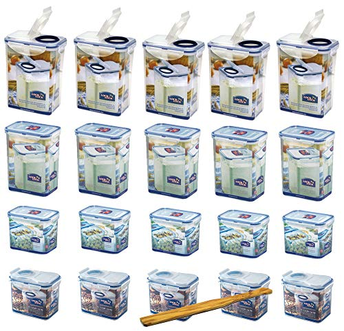 Lock&Lock Frischhaltedosen-Set gleiche Deckel 20-teilig (5X HPL812 1L, 5X HPL812F Schüttbox 1L, 5X HPL813 1,8L, 5X HPL813F Schüttbox 1,8L) stapelbar und SeleXions Multifunktion Olivenholz-Spachtel