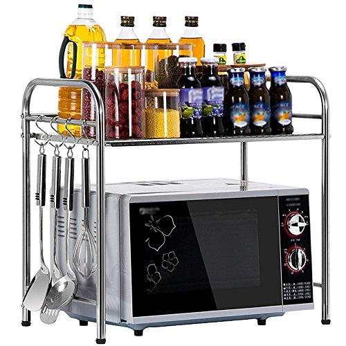 ILQ Support de Cuisine de 2 Couches/Support de Four à Micro-Ondes/Support de Four d'acier Inoxydable de 201 / Support de Stockage de Cuisine,BB,50 * 35 * 53 CM
