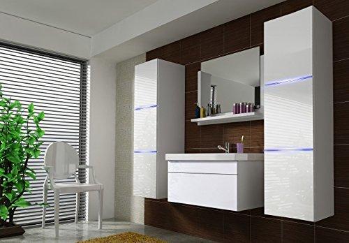 Home Direct Amanda 2, Moderne Badmöbel, Badeschränke, mit Waschbecken (Weiß MAT Base/Weiß HG Front, LED weiß)