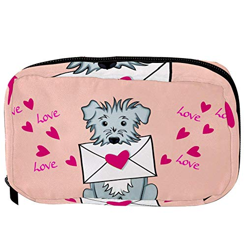 TIZORAX Cosmetische Tassen Valentijn Kaart Met Hond Handige Toilettas Reistas Oragniser Make-up Pouch voor Vrouwen Meisjes