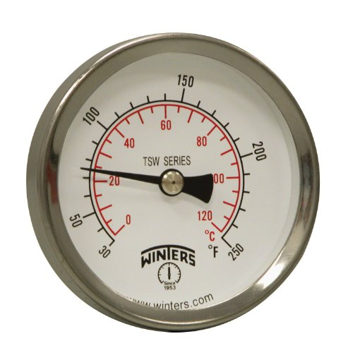Winters TSW Series Aluminum Dual Scale Hot Water Thermometer, Dial Type, 2-1/2' Dial, 1/2' NPT Center Back Mount, 30-250 F/C Range