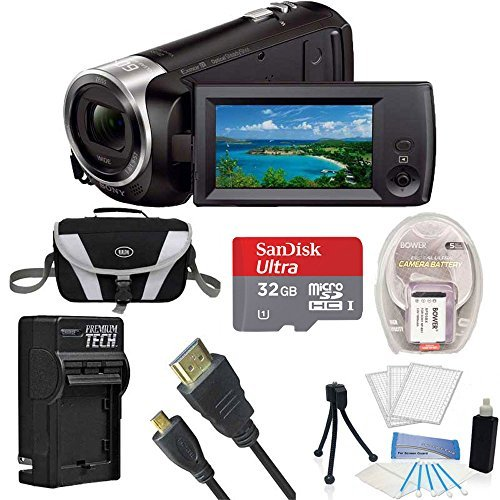 Sony Handycam CX405 Flash Memory Full HD Camcorder Bundle with 32GB Memory Card, Camera Bag, HDMI Cable, and Accessories (8 Items)