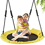 Saucer Tree Swing for Kids, LITTLELOGIQ 40 Inch Outdoor Swing Sets for Backyard, 700lb Capacity, Adjustable Height, Easy Setup, for Adults & Kids - Yellow