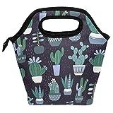 Bolsa de almuerzo reutilizable con aislamiento de cactus, para mujeres, niños, parrillas, almuerzos, preparación de comidas, bolso de mano para la escuela, picnic, oficina