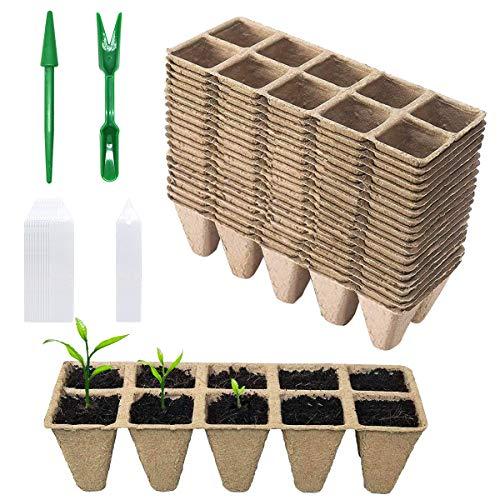 BoloShine Juego de 12 Bandejas de Semillero Biodegradables con 20 Etiquetas, Macetas de Plántulas de Fibra Compostable a Cuadros Bandejas para Jardines Parches de Verduras Frutas Viveros