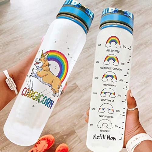 OwlOwlfan Unicorn - Botella de agua de 1000 ml, a prueba de fugas, gran capacidad, para adultos, niños, color blanco, 1000 ml