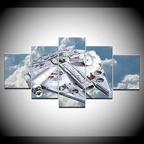5 Paneles/Piezas HD Impresión Falcon Start Wars Impresión Moderna En Lienzo Pintura Artística para Decoración De Sala De Estar del Hogar(Sin Marco)