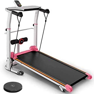 Belone Home Treadmills Two-Wheeled Ultra-Quiet Foldable Walking Running Mechanical Treadmill with Table Holder/LCD Monitor & Mp3 Speaker for Gym Home Office