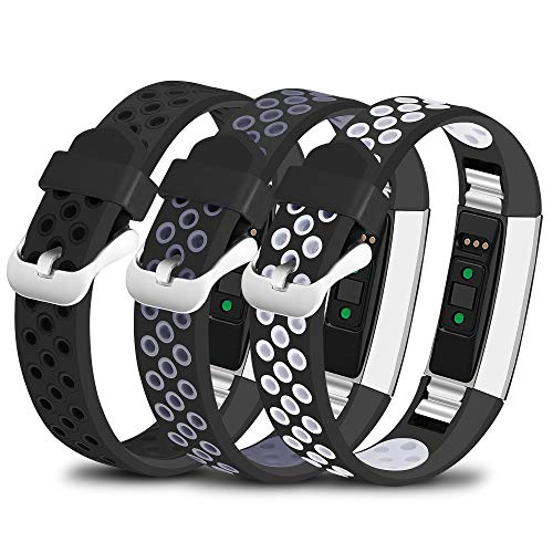 iHillon Compatible with Fitbit Alta/Alta HR/Fitbit Ace Bands, 3-Pack Two-Toned Breathable Silicone Sport Replacement Wristbands with Metal Buckle for Women Men Kids