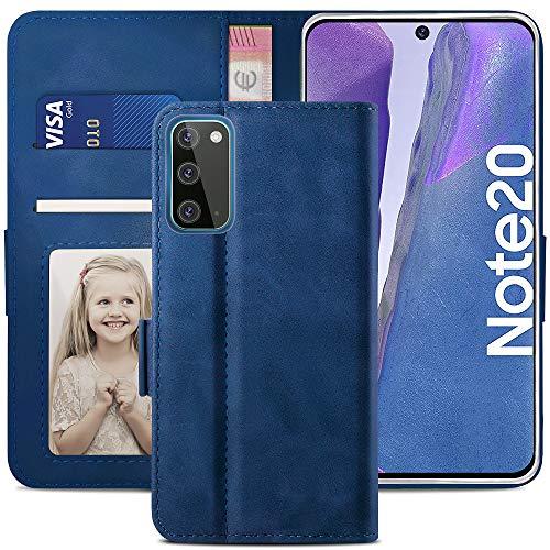 YATWIN Handyhülle Samsung Galaxy Note 20 Hülle, Klapphülle Samsung Note 20 Premium Leder Brieftasche Schutzhülle [Kartenfach] [Magnet] [Stand] Handytasche Hülle für Samsung Note 20 5G, Blau