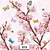 (919) Two Individual Paper Luncheon Decoupage Napkin - Spring Cherry Blossoms