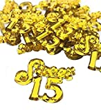 48 Gold Mis Quince Anos Sweet 15 Charms Embellishment Number for Capias Favors Acrylic Confetti