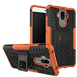 Heartly Kick Stand Rugged Shockproof Tough Hybrid Armor Dual Layer Bumper Back Case Cover for Huawei Mate 9 - Mobile Orange