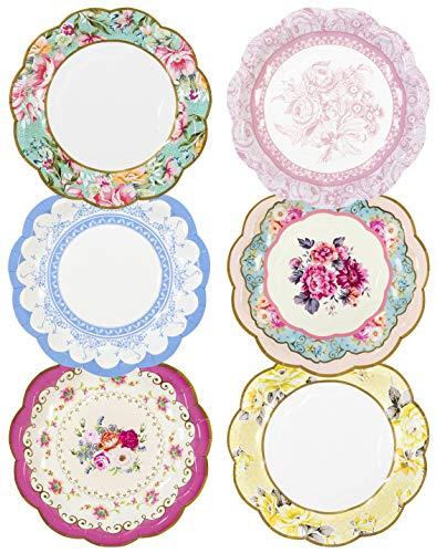 """Talking Tables platos vendimia con detalle floral en 6 colores diferentes """"Truly Scrumptious' 'TS6' Cartón. Multicolor."""