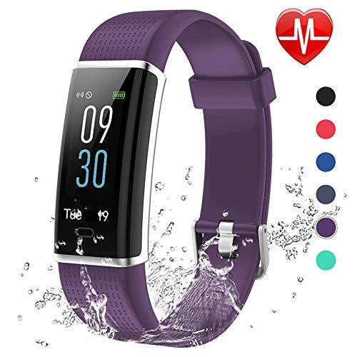 Lintelek Fitness Armband Fitness Tracker mit Pulsmesser Farbdisplay Fitness Uhr Schlafmonitor Aktivitätstracker Vibrationsalarm GPS MEHRWEG