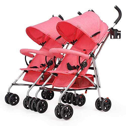 Poussetter Yhz@ Chariot jumeau, de bébé, Chariot Pliant léger de bébé Amortisseur portatif Infantile Rose de Buggy
