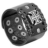 JewelryWe Bracelet Punk Rock Croix Gothique Grande Largueur 4.4 CM pour Homme Biker en Alliage et Cuir de Couleur Noir et Argent...