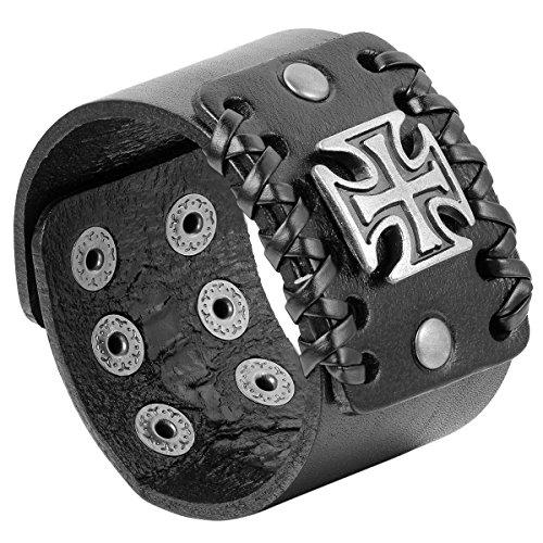 JewelryWe Schmuck Herren Armband, Breit Kreuz Armreif, Verstellbaren Größen, Leder Echtleder Legierung, Schwarz Silber