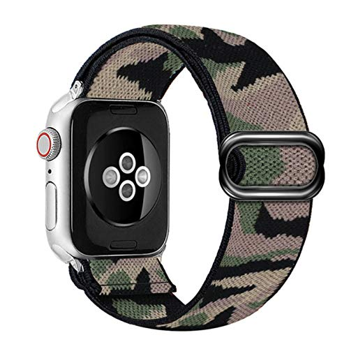 Correa de bucle de nailon para Apple Watch Band 6 38mm 40mm 42mm 44mm Para Iwatch Series 6 5 4 3 2 Correa de repuesto de reloj elástico de Bohemia-Camuflaje 1,44mm