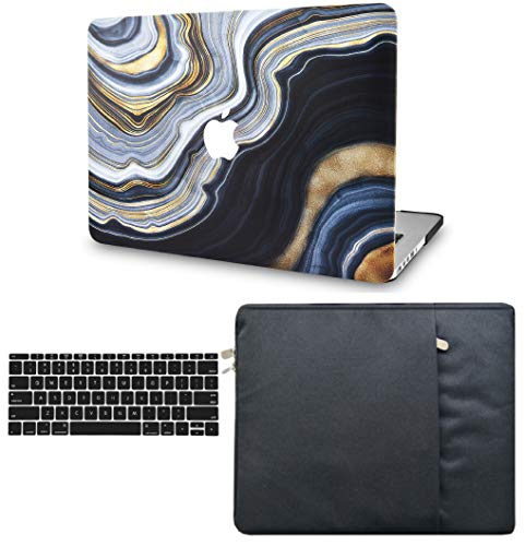 LuvCase 3 in 1 Laptop Case for MacBookPro 13' (2021/2020) with Touch Bar A2338 M1/A2251/A2289 Hard Shell Cover, Sleeve & Keyboard Cover (Grey Gold Marble)