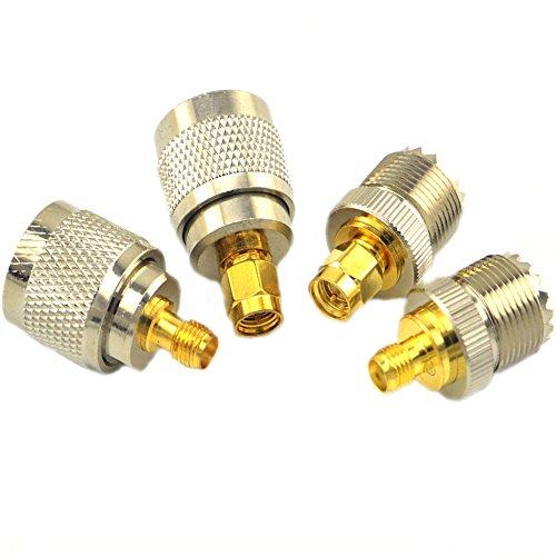 SMA-UHF RF Connectors Kit SMA to UHF PL259 SO239 4 Type Set SMA Jack/Plug to UHF Nickel Gold Plated Test Converter Pack of 4 …