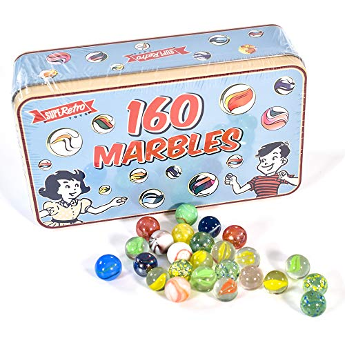 KandyToys 160 Piece Classic Glass Marbles in a Vintage Storage / Gift Tin