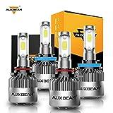 Auxbeam 9005/HB3 H11/H8 Combo LED Bulb Kit, 16000 Lumens High Low Beam, 6500K Bright White COB Led Chips Hi/Lo lights, Pack of 4