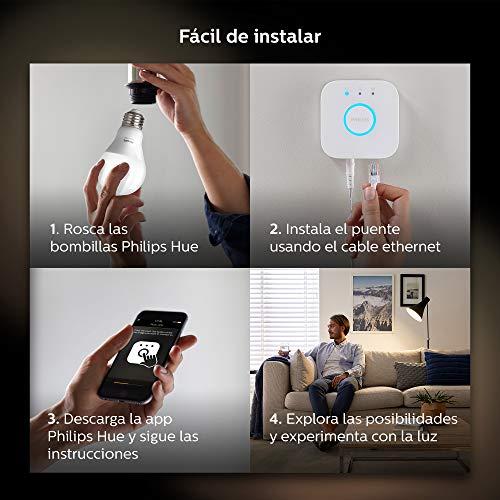 Philips Hue White - Kit de 3 bombillas LED E27, puente e interruptor o mando (compatible con Amazon Alexa, Apple HomeKit y Google Assistant)