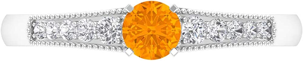 Rosec Jewels Fashionable - High quality new 1 2 CT Orange Ring Created Solitaire Sapphire Lab