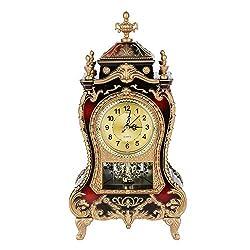 DERCLIVE Vintage Table Clock Antique Decorative Desk Alarm Clocks(Brownish Red)