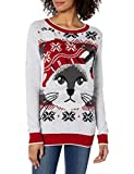 Ugly Christmas Sweater Company Women's Assorted Pullover Xmas Sweaters with Multi-Colored LED Flashing Lights, Silver Heather Light-Up Cat Face, M
