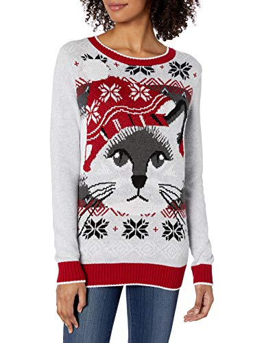 Ugly Christmas Sweater Company Women's Assorted Pullover Xmas Sweaters with Multi-Colored LED Flashing Lights, Silver Heather Light-Up Cat Face, XXL