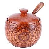Cuenco de condimento, caja de sal de madera con tapa Cuchara Tarro de especias vintage Recipiente de condimento Utensilio de cocina