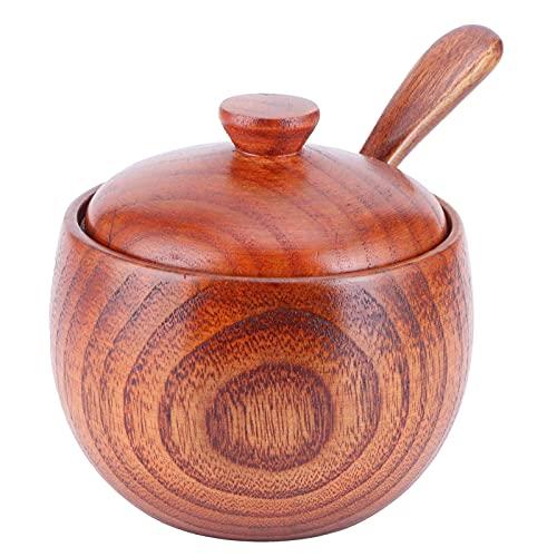 Caja de sal de madera con cuchara de tapa, exquisito tarro de especias vintage Recipiente para condimentos Olla para condimentos Utensilio de cocina 150 ml