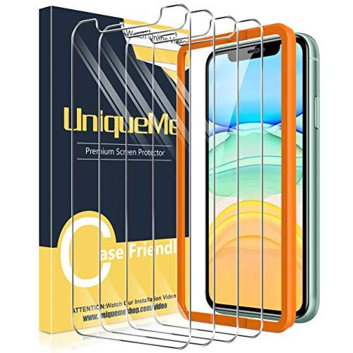 UniqueMe [4 Pezzi] Vetro Temperato per iPhone 11 / iPhone XR Pellicola, [Durezza 9H] Pellicola Protettiva per iPhone 11 / XR Vetro con Un Perfetto Servizio Post-Vendita.