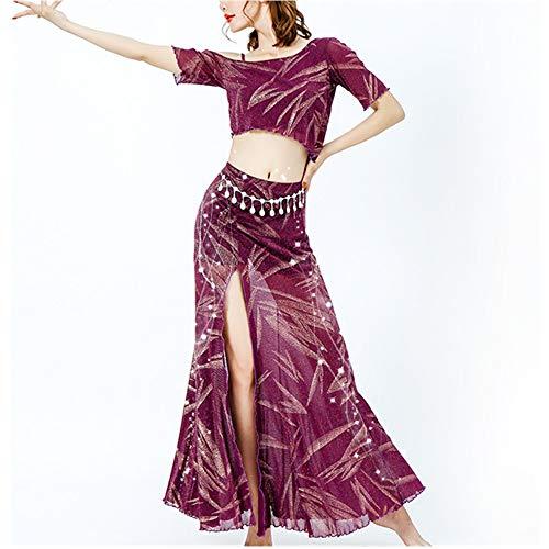 LOYFUN Tanzende Kleider, Bauchtanz Rock Bauchtanz Outfit Damen Bauchtanz Performance Bauchtanz Kostüm Indian Dance Bauchtanz Übungskleidung (ohne Gürtel Taille) (Farbe : Rot, Größe : XXL)