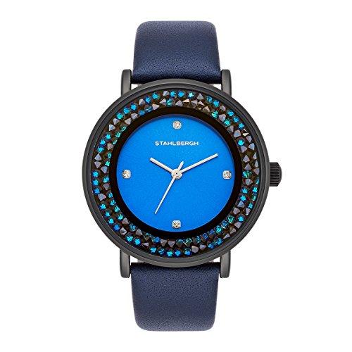 Stahlbergh Damen Uhr analog Japanisches Quarzwerk mit Leder Armband schwarz 3 ATM verziert mit Kristallen von Swarovski® 10060100