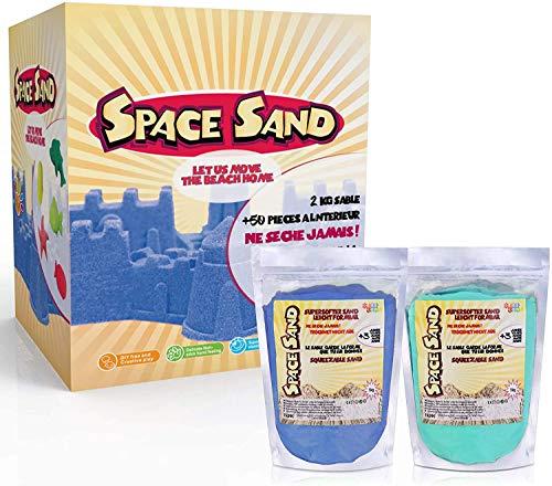 Space Sand 1.8kg Set 50tlg. Formen Zahlen Buchstaben Burg Modellierwerkzeug Modellierwanne, kinetischer magischer Sand, viele Farben, TÜV getestet, Modell 2020 (0.9kg blau und 0.9kg türkis)