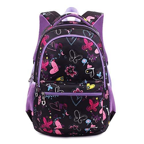 Termichy Mode Kinder Teenager Mädchen Schulrucksack Leichte Schule Tasche Blumen Floral Studenten Rucksack Lässig Daypack Reise Backpack für Schüler Outdoor Freizeit-Lila