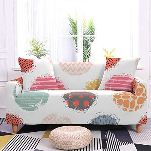 Funda de sofá de 2 Plazas Funda Elástica para Sofá Poliéster Suave Sofá Funda sofá Antideslizante Protector Cubierta de Muebles Elástica Patrón Circular de Color Funda de sofá