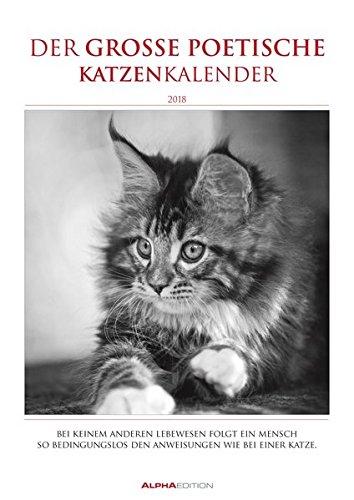 Der große poetische Katzenkalender 2018 - Literarischer Bildkalender A3 - mit Zitaten - schwarz/weiß - Tierkalender