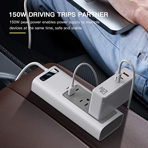 Baseus Car Inverter 150W DC 12V/110V Car Outlet Adaptercar USB C LCD Screen with Switch and Current Outlet Adapter Power Inverters for Car (White)