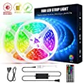 LED Strip Lights, 32.8 ft Color Changing Flexible RGB LED Light Strip Kit with 44 Keys IR Remote Controller, 5050 RGB 300 LED Lights for Bedroom,Room,Home,Kitchen and Party Christmas Decoration