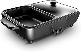 OhLt-j Hot Pot Barbecue Sartén Antiadherente integrada sin Humo Bandeja de Horno Barbacoa Multifuncional Freidora eléctrica Horno Bandeja de Horno casero 1400W (Color: Rosa) (Color : Black)
