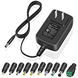6V 2A Charger Power Cord UL Listed 12W 10 Tips Switching AC Adapter for Speakers Routers Tablets LED Rights Webcams Transformer Replacement Power Supply